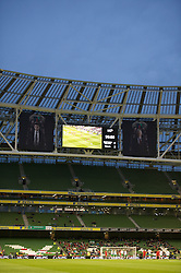 DUBLIN, REPUBLIC OF IRELAND - Friday, May 27, 2011: The scoreboard records Wales' 2-0 victory over Northern Ireland during the Carling Nations Cup match at the Aviva Stadium (Lansdowne Road). (Photo by David Rawcliffe/Propaganda)