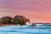 Waves Crashing on Arch Rock at Cameo Shores Corona Del Mar California