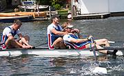 Henley-on-Thames. United Kingdom.  2017 Henley Royal Regatta, Henley Reach, River Thames. <br /> Prince Albert Challenge Cup: Newcastle University, celebrate victory over Imperial College London.<br /> <br /> 11:39:08  Sunday  02/07/2017<br /> <br /> [Mandatory Credit. Intersport Images}.