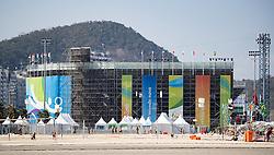 "02.08.2016, Copacabana, Rio de Janeiro, BRA, Rio 2016, Olympische Sommerspiele, Vorberichte, im Bild Beachvolleyball Stadion ""Copacabana Arena"" // Beach volleyball stadium ""Arena Copacabana"" uring preparation for the Rio 2016 Olympic Summer Games at the copacabana in Rio de Janeiro, Brazil on 2016/08/02. EXPA Pictures © 2016, PhotoCredit: EXPA/ Johann Groder"