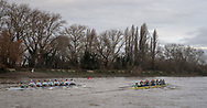 *** during the Cambridge University Trial Eights in preparation for the Boat Race on the Thames, London, United Kingdom on 10 December 2018.<br /> <br /> Boat Race Trial VIIIs (Eights) are the only opportunity either side have to race the full course from Putney to Mortlake with the Race Umpires, so provide an important test for rowers and coxes alike.  They allow coaching teams to analyse the progression and potential and are often influential in final selection of crews for the Blue Boats.<br /> <br /> The first Trial Eights race was staged by Oxford 153 years ago in 1859 and Cambridge joined the tradition three years later in 1862.<br /> <br /> CUWBC have chosen to name their crews after two Nobel Prize winning women, Marie Curie and Bertha von Suttner. <br /> <br /> CUWBC crew list:-<br /> <br /> Suttner (White hull, white crew tops)<br /> , Stroke. Emma Andrews, 7. Ida Gørtz-Jacobsen, 6. Lily Lindsay, 5. Abigail Parker, 4. Larkin Sayre, 3. Laura Foster, 2. Fanny Belais, Bow. Sally O'Brien, Cox. Catriona Bourne-Swinton, <br /> <br /> Curie.  (Yellow hull, dark crew tops), Stroke. Philippa Whittaker, 7. Kate Horvat, 6. Sophie Deans, 5. Tricia Smith, 4. Naomi Pygott, 3. Adriana Perez-Rotondo, 2. Rebecca Dell, Bow. Charlotte Jackson, Cox. Hugh Spaughton