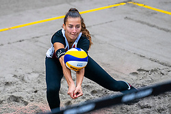 Anna Lutz SUI in action during the first day of the beach volleyball event King of the Court at Jaarbeursplein on September 9, 2020 in Utrecht.