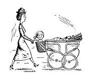 Mother using pram to carry shopping putting the baby in the basket.