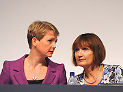 © Licensed to London News Pictures. 28/09/2011. LONDON, UK. L-R) Yvette Cooper, Shadow Home Secretary talks to Tessa Jowell, Shadow Secretary of State for the Cabinet Office, at The Labour Party Conference in Liverpool today (28/09/11). Photo credit:  Stephen Simpson/LNP