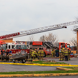 Lancaster, PA, USA- April 14, 2015: Firefighters at a motel fire on Route 30 in Lancaster County, PA