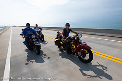 Andrea Labarbara riding her 1934 Indian 4-cylinder beside Curtis Venable on his HD Flathead and her husband Bob Zeola in the back on his HD Knucklehead during the Cross Country Chase motorcycle endurance run from Sault Sainte Marie, MI to Key West, FL. (for vintage bikes from 1930-1948). Stage-10 covered just 110 miles from Miami to the finish in Key West, FL USA. Sunday, September 15, 2019. Photography ©2019 Michael Lichter.