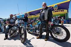 Jesse Srpan of Raw Iron Choppers on his custom 1972 Harley-Davidson Shovelhead with his dad Rick Srpan on his custom 1950 Panhead at the Boardwalk bike show during Daytona Beach Bike Week. FL. USA. Friday March 17, 2017. Photography ©2017 Michael Lichter.