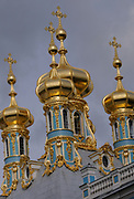 Roof of the Palace Church with golden domes and crosses at the Catherine Palace Museum, Tzarskoje Selo Palace at Pushkin. St. Petersburg, Russia 06 September 2010