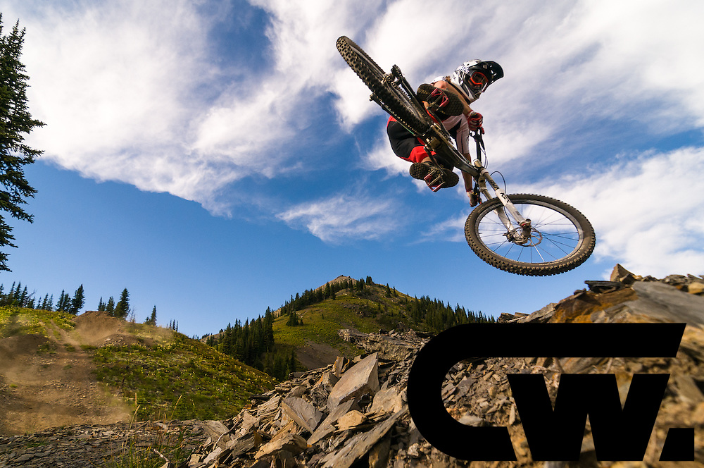Ian Morrison scrubs at Retallack Lodge, BC. He hit this a lot of times to get it just right, even after bruising his heel when he didn't get it back around on his first try. As seen on the cover of Big Bike Magazine.