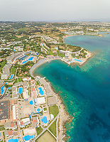 Aerial view of hotel resort on the shores of Rhodes island, Greece.