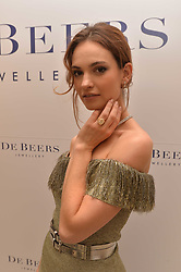 Lily James at a reception to celebrate the opening of the new De Beers home at Harrods , Harrods, 87-135 Brompton Rd, Knightsbridge, London England. 8 June 2017.<br /> Photo by Dominic O'Neill/SilverHub 0203 174 1069 sales@silverhubmedia.com