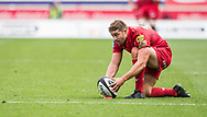 Scarlets' Leigh Halfpenny prepares to kick a penalty. <br /> Guinness Pro14 rugby match, Scarlets v Southern Kings at the Parc y Scarlets in Llanelli, Carms, Wales on Saturday 2nd September 2017.<br /> pic by Craig Thomas, Andrew Orchard sports photography.