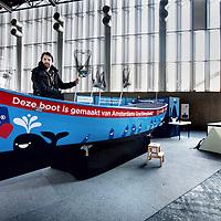 Nederland, Amsterdam , 4 maart 2014.<br /> Marius Smit, intitiatiefnemer van de zg Plastic Whale, boot gemaakt van plastic flesjes op zijn boot die woensdag tijdens de HISWA 2014 wordt gepresenteerd.<br /> Bovendien maakt Marius en zijn team vervolgplannen bekend: we worden de eerste professionele plastic fishing company ter wereld! at betekent dat we dagelijks de grachten op gaan in de Plastic Whale om plastic te vissen. Van onze vangst gaan we design objecten maken, bijvoorbeeld d.m.v. 3D printing.<br /> Foto:Jean-Pierre Jans
