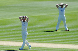 Dejection for Glamorgan's Graham Wagg and William Bragg - Photo mandatory by-line: Harry Trump/JMP - Mobile: 07966 386802 - 22/04/15 - SPORT - CRICKET - LVCC County Championship - Division 2 - Day 4 - Glamorgan v Surrey - Swalec Stadium, Cardiff, Wales.