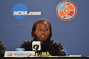 April 3, 2016; Indianapolis, Ind.; Keiahnna Engel addresses the media during their press conference at Bankers Life Fieldhouse.