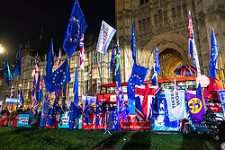 "© Licensed to London News Pictures. 22/10/2019. London, UK. People gather outside The Palace of Westminster in front of College Green ahead of crucial votes for PM Boris Johnson government. MPs backed his Withdrawal Agreement Bill - but minutes later voted against the timetable, placing Brexit ""in limbo"". Photo credit: Guilhem Baker/LNP"