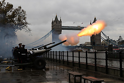 © Licensed to London News Pictures. 14/11/2016. LONDON, UK.  Soldiers from the Honourable Artillery Company (HAC) fire a 62 round gun salute at The Tower of London, near Tower Bridge to mark HRH the Prince of Wales's birthday today, during grey wet weather.  Photo credit: Vickie Flores/LNP