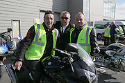 NO FEE PICTURES.5/5/13 On Saturday May 4th, the 8th Annual Rev-up4DSI motorcycle challenge in aid of Down Syndrome Ireland departed Joe Duffy BMW in Dublin, bound for Donegal. Pictured John Nolan, New York, John Farrell, Celbridge and Mark Floody, Lucan. Picture:Arthur Carron Photography