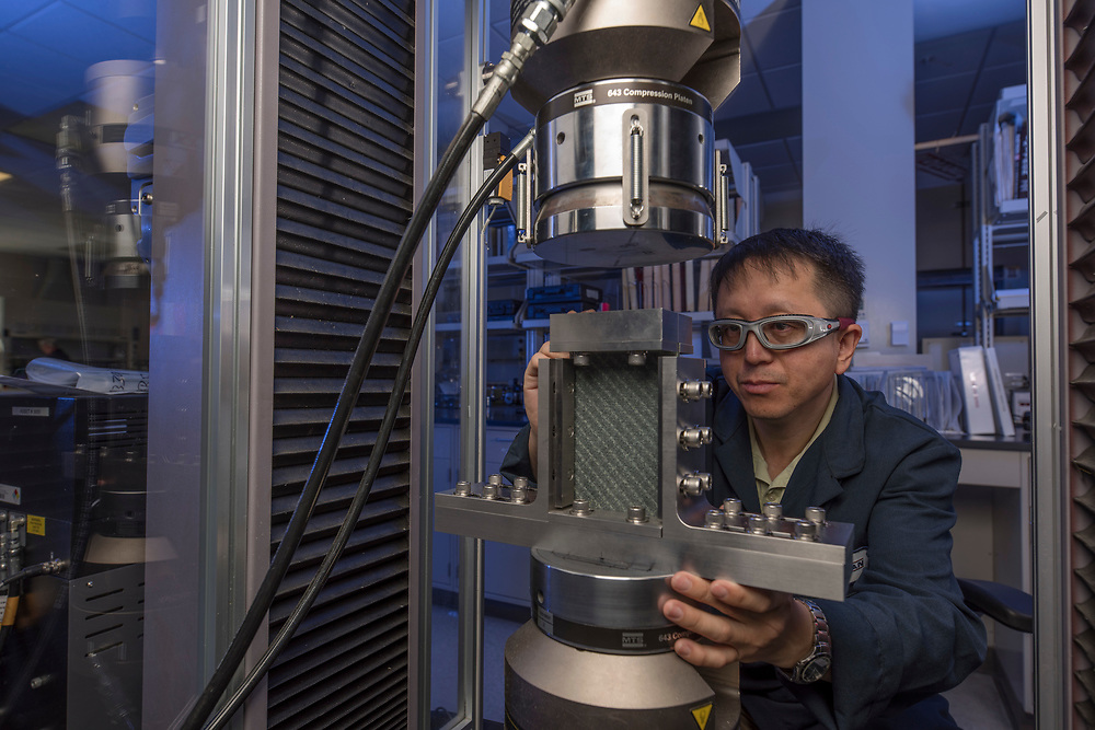Huntsman's Long Han photographed in HTAC Physical Testing Lab for 2018 Sustainability Report