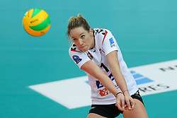 October 21, 2017 - Rzeszow, Poland - Helene Rousseaux (Developres),  in action during CEV Volleyballl Champions League volleybal women match between Developres Rzeszow and Hapoel Kfar Saba on 21 October 2017 in Rzeszow, Poland. (Credit Image: © Foto Olimpik/NurPhoto via ZUMA Press)