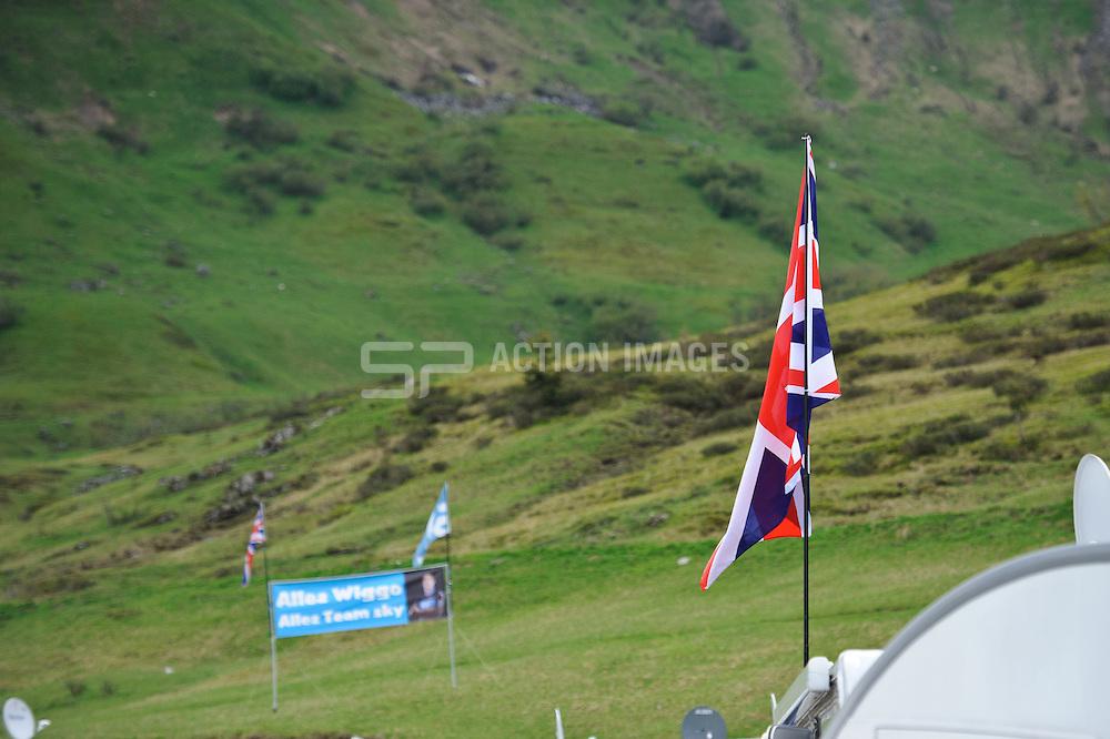 Allez Wiggo banner & Union flag at the top of the Col de la Joux Plane during stage 6 of the Criterium du Dauphine. Photo by Simon Parker/SPactionimages