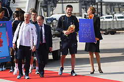 France's head coach Didier Deschamps, French Football federation president Noel Le Graet and goalkeeper Hugo Lloris holding the trophy disembark from the plane with teammates upon their arrival at the Roissy-Charles de Gaulle airport on the outskirts of Paris, France, on July 16, 2018 after winning the Russia 2018 World Cup final football match. Photo by ABACAPRESS.COM