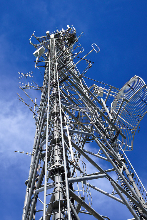 GSM and CDMA cellsite antenna and communications array for the cellular telephone system on a tower. <br /> <br /> Editions:- Open Edition Print / Stock Image