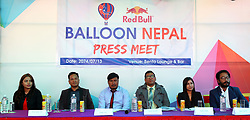 KATHMANDU, Oct. 30, 2017  Bikram Bade (3rd L), Chairman of Balloon Nepal and other representatives attend the press conference to announce the operation of the ''Hot Air Balloon flights'' in Kathmandu, Nepal, on Oct. 30, 2017. (Credit Image: © Sunil Sharma/Xinhua via ZUMA Wire)