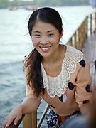 Smiling Chinese woman Xi Hu (West Lake) Hangzhou, China