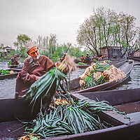 Salesmen sell flowers, vegetables and other things from the shikar boats on Dal Lake, Srinigar, Kashmir, India.