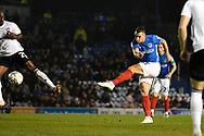 Lee Brown (3) of Portsmouth shoots at goal during the EFL Sky Bet League 1 match between Portsmouth and Ipswich Town at Fratton Park, Portsmouth, England on 19 October 2021.