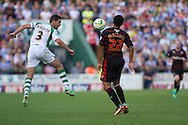 Jamie McAllister of Yeovil Town and Danny Williams of Reading during the Skybet championship match, Yeovil Town v Reading at Huish Park in Yeovil on Saturday 31st August 2013. <br /> Picture by Sophie Elbourn, Andrew Orchard sports photography,