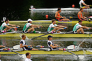 2006 FISA World Cup, Lucerne, SWITZERLAND, 07.07.2006. Lightweight men's Four,  IRL LM4- Bow Gearoid TOWEY, Eugene COAKLEY, Richard ARCHIBALD Paul GRIFFEN. Photo  Peter Spurrier/Intersport Images email images@intersport-images.com.[Friday Morning]....[Mandatory Credit Peter Spurrier/Intersport Images... Rowing Course, Lake Rottsee, Lucerne, SWITZERLAND.