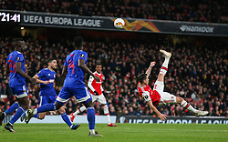 Granit Xhaka of Arsenal shoots with an overhead kick - Mandatory by-line: Arron Gent/JMP - 27/02/2020 - FOOTBALL - Emirates Stadium - London, England - Arsenal v Olympiacos - UEFA Europa League Round of 32 second leg