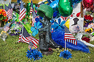 Makeshift memorial where six oifficers were shot on Airline Highway in Baton Rouge. Three of the officers were killed and another one remains in criticial condition. The memorial in front of the  B-Quik gas station continues to grow.