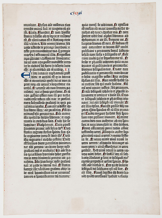 """photograph ©2013 tom wagner<br /> all moral rights asserted. ©tom wagner 2013<br /> books collection, Grand Rapids Public Museum<br /> A single two sided page of an original 1450-55 Gutenberg Bible, an object included in the exhibition title """"Clay, Paper, Pixels,"""" curated by Sara Fall, and the artifactGR gallery install for the workflow show by Sitelab, 12th April, 2013 at 54 Jefferson, the old gr public museum"""