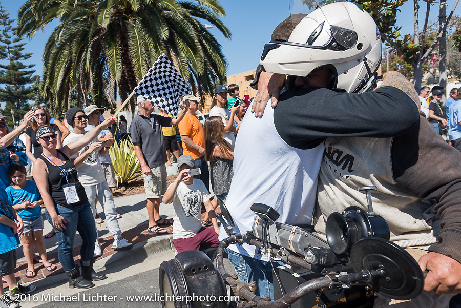 3,400 miles from the Atlantic to the Pacific - The journey is over. Steve Rinker of West Virginia riding his 1916 Indian crosses the finish line of the Motorcycle Cannonball Race of the Century. Stage-15 ride from Palm Desert, CA to Carlsbad, CA. USA. Sunday September 25, 2016. Photography ©2016 Michael Lichter.