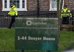 © Licensed to London News Pictures. 16/02/2021. London, UK. Police at the scene of a fatal stabbing at Highgate Road in Camden, North London. Officers attended late yesterday evening alongside London Ambulance Service and found a man suffering from stab wounds. Photo credit: Ben Cawthra/LNP