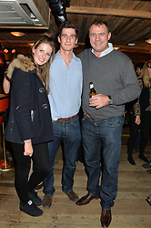 Left to right, ALI BOLITHO, her brother TOM BOLITHO and BEN CLARKE former international rugby player at a party in honour of the Walking With The Wounded team members held at Bodo's Schloss, 2A Kensington High Street, London on 13th November 2013.