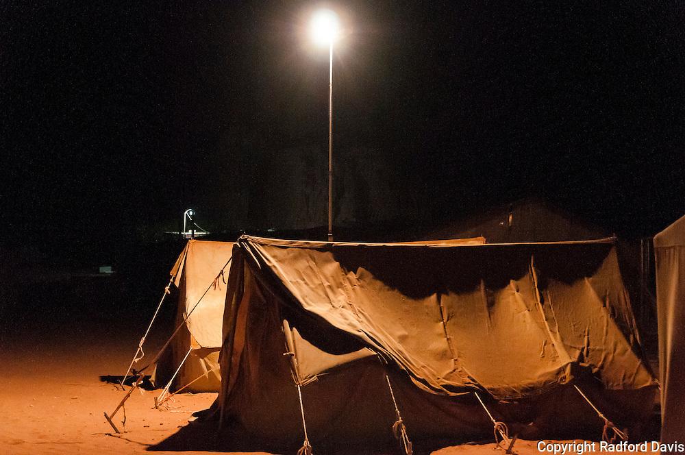 Bedouin camp and tents in the desert of Jordan