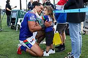 Adam Blair with his son. Vodafone Warriors v Manly Sea Eagles. NRL Rugby League, Central Coast Stadium, Gosford, NSW, Australia, Sunday 27th September 2020 Copyright Photo: David Neilson / www.photosport.nz
