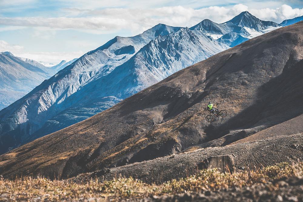 Tyler McCaul catches air in the Tatshenshini-Alsek Provincial Park in British Columbia, Canada on September 4, 2016.
