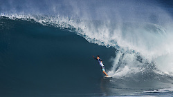 December 8, 2017 - Banzai Pipeline, HI, USA - BANZAI PIPELINE, HI - DECEMBER 8, 2017 - A surfer competes in the World Surf League Men's Pipe Invitational at Backdoor Pipeline  Friday to qualify for the upcoming Billabong Pipe Masters. (Credit Image: © Erich Schlegel via ZUMA Wire)