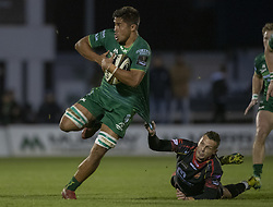 November 3, 2018 - Galway, Ireland - Jarrad Butler of Connacht tackled by Jason Tovey of Dragons during the Guinness PRO14 match between Connacht Rugby and Dragons at the Sportsground in Galway, Ireland on November 3, 2018  (Credit Image: © Andrew Surma/NurPhoto via ZUMA Press)