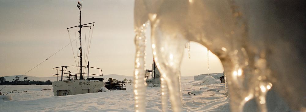 Frozen harbour, Olkhon Island, Siberia, Russia