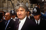 Serb politician Radovan Karadzic at the Yugoslav Peace Conference on 8th August 1992 in London UK. Peace peace-makers attempted to diffuse the Bosnian European conflict. As one of the worlds most wanted men, Karadzic was eventually arrested after 12 years on the run to face charges of genocide and crimes against humanity inflicted on Bosnian Muslim, Bosnian Croat and other non-Serb civilians in Bosnia and Herzegovina during the 1992-95 war, when he was president of the breakaway Republika Srpska. Implicated in the murder of nearly 8,000 Bosnian Muslim men and boys in Srebrenica, after the supposedly UN-protected enclave fell to Bosnian Serb forces. The former psychiatrist and aspiring poet was also charged with running death camps for non-Serbs, and the shelling and sniping on civilians in the Bosnian capital, Sarajevo, in a siege that lasted more than three years. UPDATE MARCH 2016 Karadzic was convicted of genocide and war crimes over the 1992-95 war, and sentenced to 40 years in jail. UN judges in The Hague found him guilty of 10 of 11 charges, including genocide over the 1995 Srebrenica massacre.