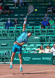 April 11, 2018 - Houston, TX, U.S. - HOUSTON, TX - APRIL 11:  Nicolas Kicker of Argentina watches his serve during the second round of the Men's Clay Court Championships on April 11, 2018 at River Oaks Country Club in Houston, Texas.  (Photo by Leslie Plaza Johnson/Icon Sportswire) (Credit Image: © Leslie Plaza Johnson/Icon SMI via ZUMA Press)