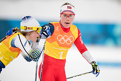 February 17, 2018 - Pyeongchang, SOUTH KOREA - 180217 Ebba Andersson of Sweden and Ragnhild Haga of Norway after competing in the WomenÃ•s Cross Country Skiing 4x5 km Relay during day eight of the 2018 Winter Olympics on February 17, 2018 in Pyeongchang..Photo: Jon Olav Nesvold / BILDBYRN / kod JE / 160176 (Credit Image: © Jon Olav Nesvold/Bildbyran via ZUMA Press)
