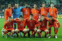 Fotball, EM kvalifisering, Nederland - Armenia , seizoen 2004-2005 , remko pasveer , paul verhaegh , jerrel wolfgang , arnold kruiswijk , frank van mosselveld , nigel de jong , daniel de ridder , stijn schaars , klaas-jan huntelaar , nicky hofs , raymond fafiani .