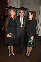 Left to right, SARAH, DUCHESS OF YORK, CHRISTOPHER LE BRUN and PRINCESS EUGENIE OF YORK at a dinner to celebrate Sir David Tang's 20 year patronage of the Royal Academy of Arts and the start of building work on the Burlington Gardens wing of the Royal Academy held at 6 Burlington Gardens, London on 26th October 2015.